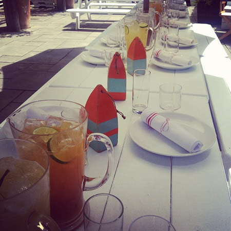 A place setting with our Medium Buoys