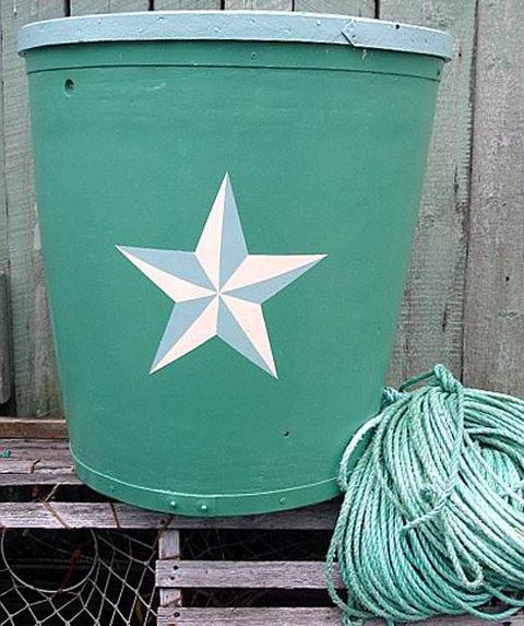 Newport green, pale blue, white