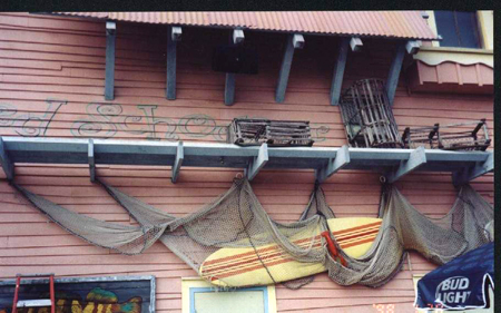 Our surfboard, netting and lobster traps at Four Flags Theme Park