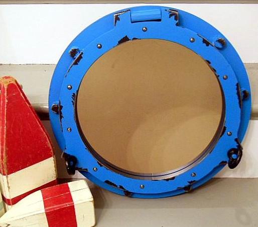 Blue Porthole Mirror