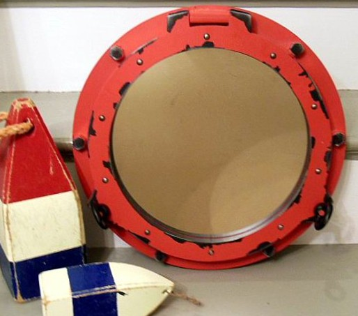 Red Porthole Mirror