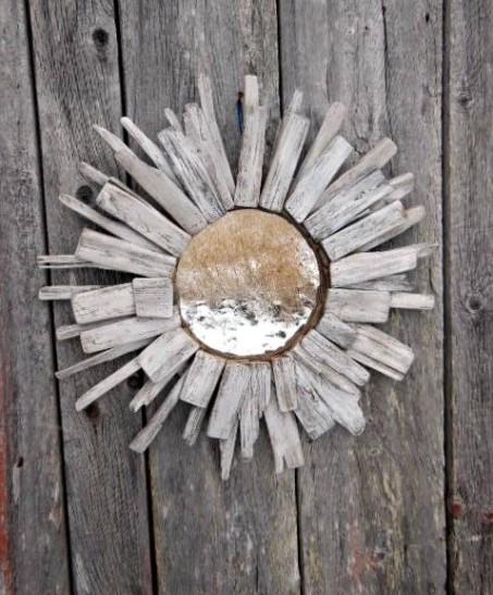 Driftwood mirror, whitewashed